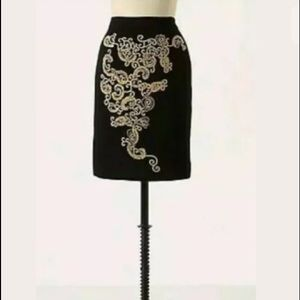 Anthropologie Skirt Black Paisley Paths Pencil 2